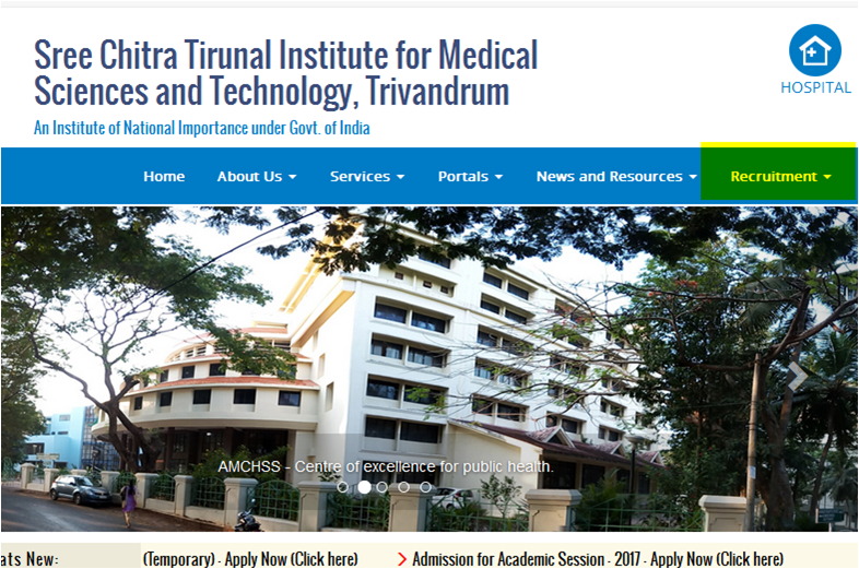Sree Chitra Tirunal Institute for Medical Sciences and Technology Recruitment 2016 freejobpoint.com