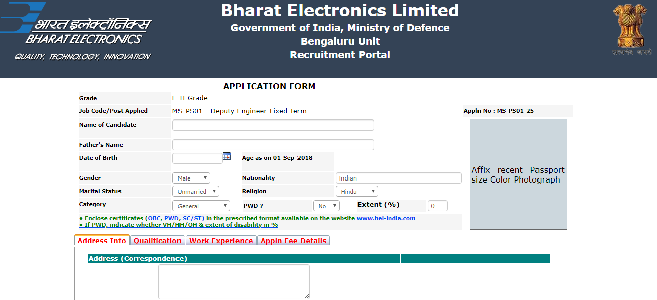 BEL Recruitment 2018 for Deputy Engineers